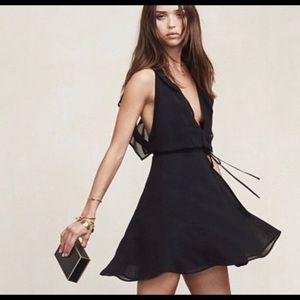 Reformation Black Hali Wrap Dress